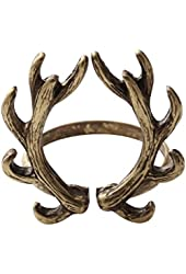 SENFAI Fashion Jewelry Antique Bronze Color Deer Antler Finger Ring ,Opening Ring for Christmas Gifts
