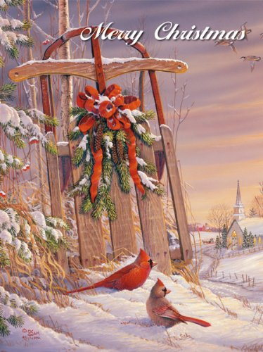 LANG - ''Wintertime Cardinal'', Boxed Christmas Cards, Artwork by Sam Timm'' - 18 Cards, 19 envelopes - 5.375'' x 6.875'' by LANG