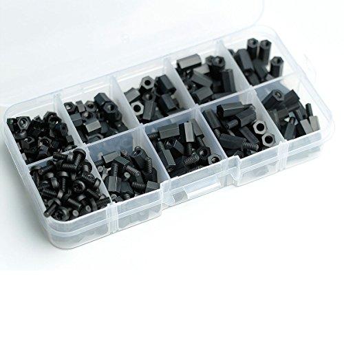 Nut Spacer - Aike® 300PCS M3 Nylon Black Hex Screw Nut Spacer Standoff Varied Length Assortment Box