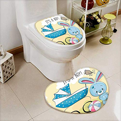 L-QN 2 Piece Shower Toilet mat Decorations Cute Bunny Baby Carriage Ball Its Boy Kids Design Avocado Green Washable Non-Slip -