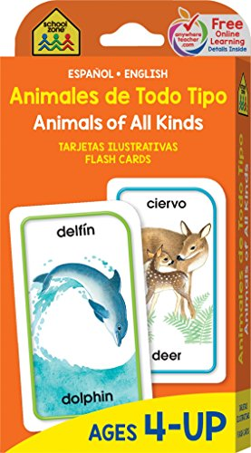 SCHOOL ZONE - Bilingual Animals of All Kinds Flash Cards, Ages 4 and Up, Animals, Word-Picture Association, Spanish and English, ESL, and More! (Spanish -