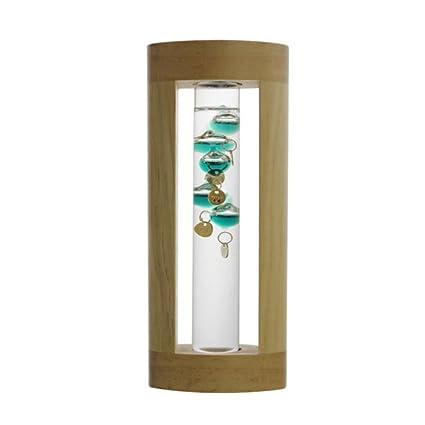 PAWACA Creativo Galileo termómetro higrómetro y barómetro de líquido de cristal de cristal Storm, con