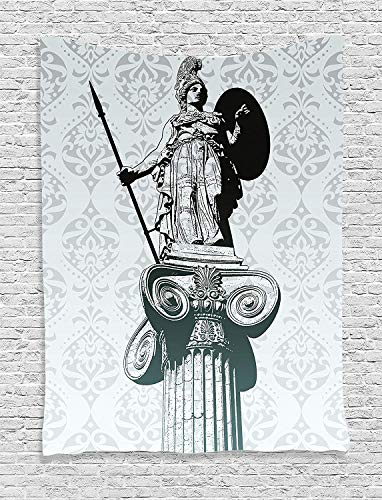 CHARMHOME Sculptures Decor Tapestry, Statue of Athena On Pillar Ancient Greek Mythology Hellenistic Monument Wall Hanging Tapestry for Bedroom Living Room Dorm Decor, 40x60 -