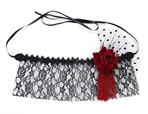 LONTG Halloween Masks Girls Women Cosplay Lace Mask Fancy Dress Half Face Veil Punk]()