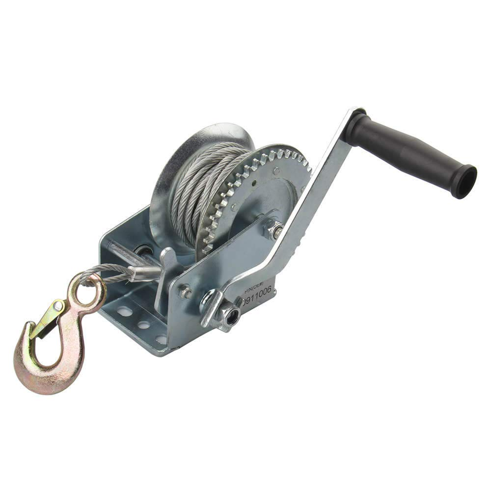 Unibos 20m Heavy Duty 1200lb Hand Winch Manual Hook Cable Puller Boat Atv Trailer Hoist