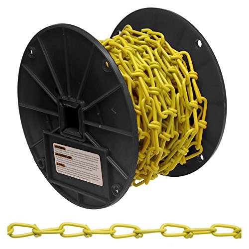 Campbell PD0722087 Low Carbon Steel Inco Double Loop Chain on Reel, Yellow Polycoated, 2/0 Trade, 0.14'' Diameter, 50' Length, 255 lbs Load Capacity by Apex Tool Group