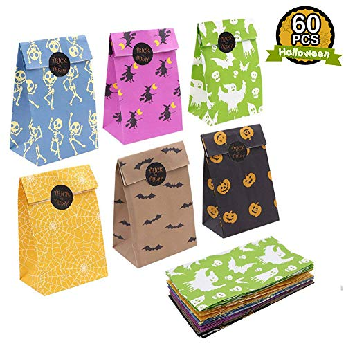 Halloween Goodie Bags (OurWarm 60pcs Halloween Party Treat Bags Paper Gift Bags, Party Favor Goody Bags with Trick or Treat Stickers for Halloween Party Decorations)