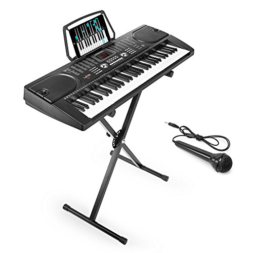 Hamzer 61-Key Digital Music Piano Keyboard – Portable Electronic Musical Instrument – with Stand & Microphone