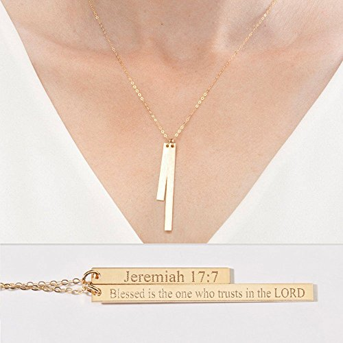 Personalized Two Bar Necklace-Custom Children Name Date-Coordinates-Mommy Necklaces-Different Lengths-14K Gold Filled-Rose-Silver-CG328N