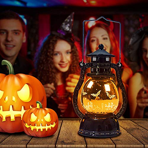 Halloween Dark Night (TCJJ Halloween Night Lights, Skeleton and Witch Pattern LED Lamp Retro Decoration, Portable Hanging Candle Light, Holiday Lights for Outdoor Indoor Decor, Garden Patio and Yard, Party,)