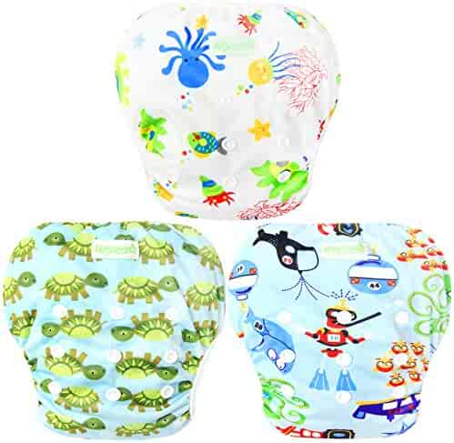 Wegreeco Baby & Toddler Snap One Size Adjustable Reusable Baby Swim Diaper (Diving,Ocean,Turtle,Large,3 Pack)