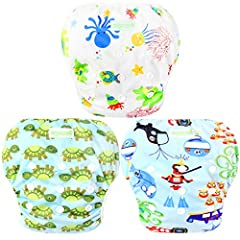 Attractive Design, having a terrific fit on any babies 100% Polyester uses no PVC or harmful materials 3x3 snaps offer great choice to adjust size.Hiden waist snaps protect your baby skin from touch snaps and provide very comfotable swim expe...