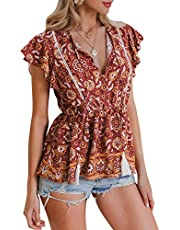 MsLure Women's V Neck Boho Floral Button Down Ruffle High Low Peplum Blouse Top with Tassel Ties