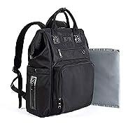 Baby Diaper Bags Backpack-Smart Organizer Large Capacity Multifunction,Stylish for Women and Men,Bonus Travel Changing Pad,Black