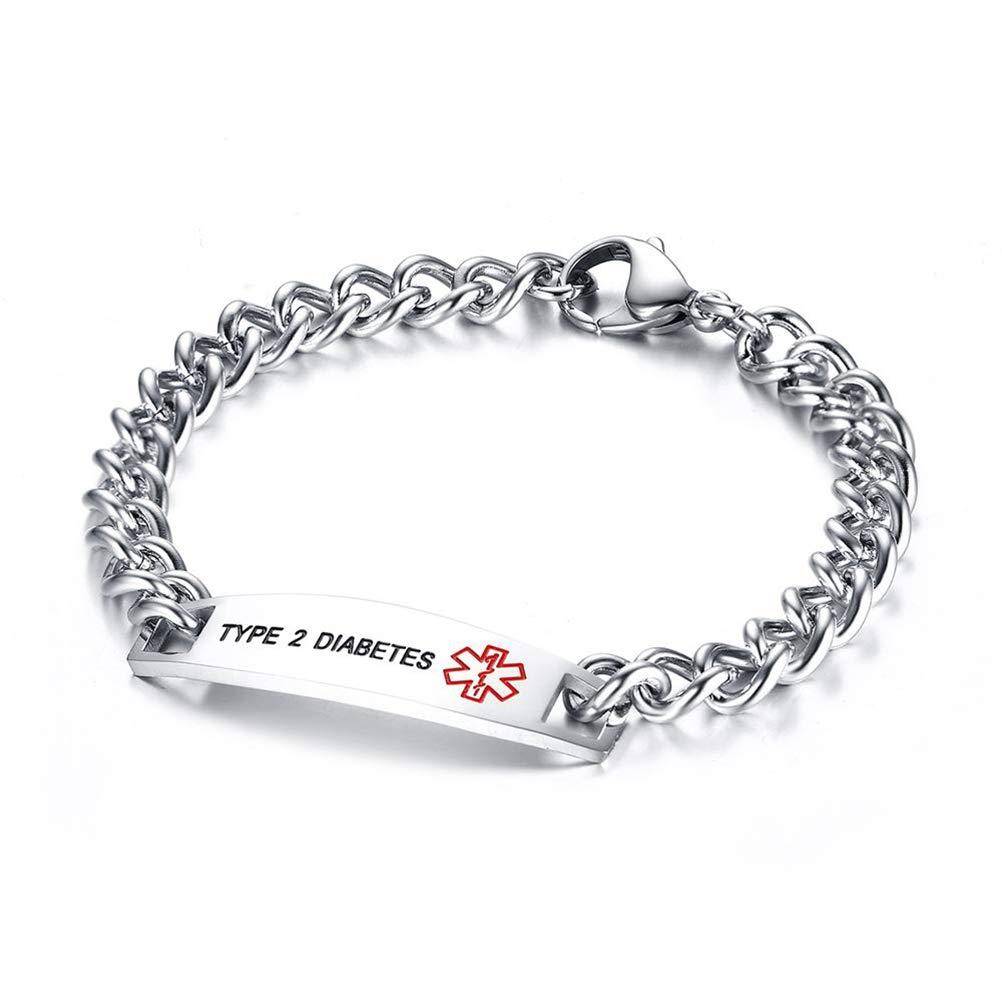 Medical Alert ID Link Bracelet Flongo Womens Mens Stainless Steel Medical Identification Alert Link Bracelet Blood THINNER,Type 2 DIABEIES Bangle Bracelet for his her Christmas Valentine Gift