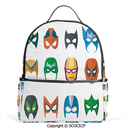 Hot Sale Backpack outdoor travel Hero Mask Female Male Costume Power Justice People Fashion Icons Kids Display,Multicolor,With Water Bottle Pockets