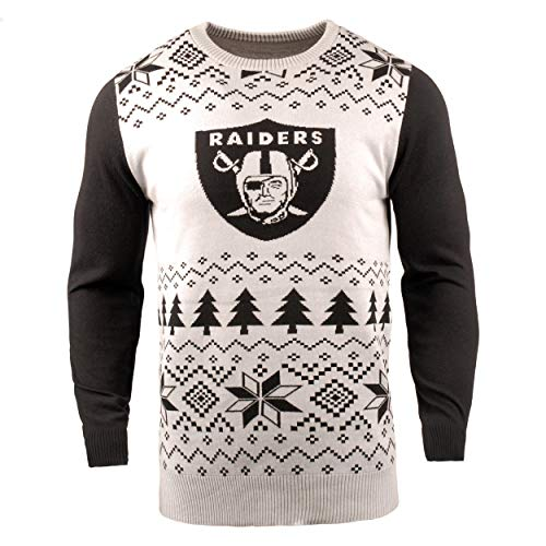 NFL Oakland Raiders Two-Tone Cotton Ugly Sweatertwo-Tone Cotton Ugly Sweater, White, Large