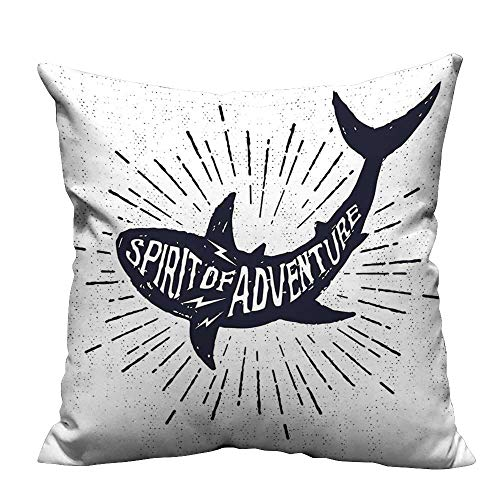 alsohome Pillowcase with Zipper of Adventure Quote Over A Fish Body Wildlife Motivational Design Indigo Pearl Cushion Cotton and Linen17.5x17.5 inch(Double-Sided Printing)