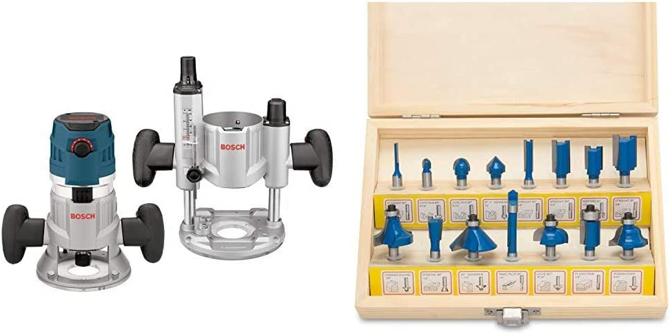 Bosch MRC23EVSK Combination Router - 15 Amp 2.3 Horsepower Corded Variable Speed Combination Plunge & Fixed-Base Router Kit with Hard Case & Hiltex 10100 Tungsten Carbide Router Bits | 15-Piece Set