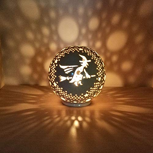 - Halloween Decorations Ceramic Candle Holder, Witch Figurine Lantern