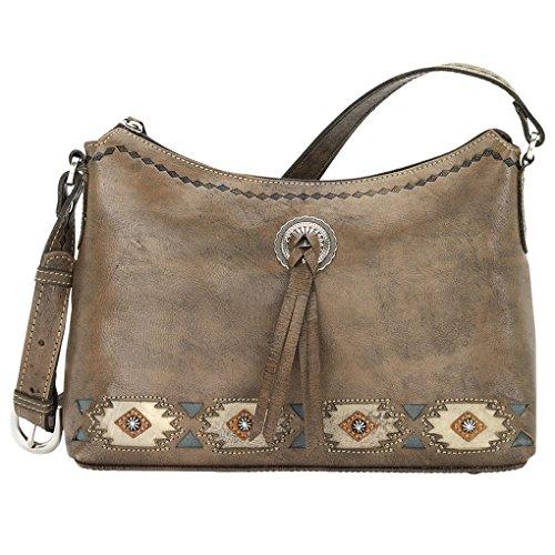 West Zip Hobo Charcoal Native Sun Top American Bag Leather Shoulder ZASwtZdx