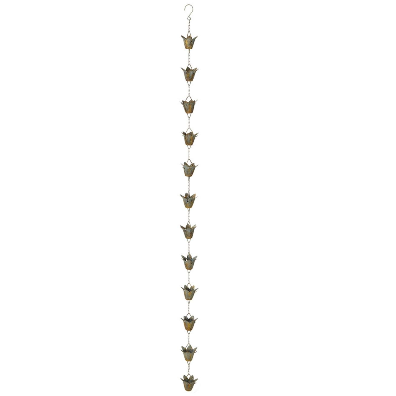 Diva At Home Set of 2 Brown and Teal Rustic Patina Lily Iron Rain Chains 57.5''