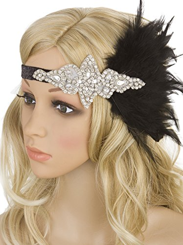 Vijiv Silver Black 20s Headpiece