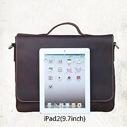 Vintage Genuine Leather Shoulder Briefcase Flapover Messenger Shoulder Bag Tote Fit 15\'\' Laptop (Dark Brown)