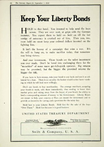 1918 Ad WWI Liberty Bonds Swift Company United States Treasury Department Eagle - Original Print (Wwi Liberty Bonds)