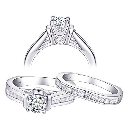 Newshe Wedding Rings for Women Engagement Set 925 Sterling Silver Round White AAA Cz 2.3ct Size 5