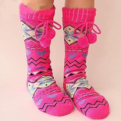 Las mujeres estilo étnico calcetines calcetines de casa Pie Cubierta grueso Lana Calcetines adultos pachytene suelo