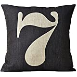 Cotton linen decorative pillows covers for sofa 18x18(inches) Lucky number 7 SimArtStore