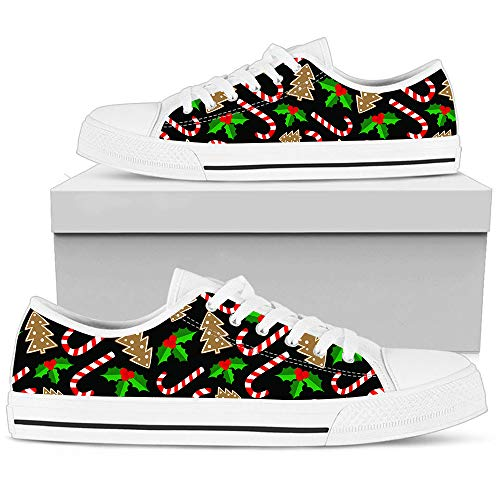 Hand Painted Printed Canvas Shoe Christmas Candy Cane Christmas Tree Mistletoe Pattern Sneakers Low Top Man Woman's Outdoor Sports Sneakers Casual Shoes Athletic Running Sneaker