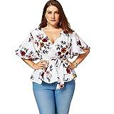 Langstar Women Floral Plus Size Belted Surplice Peplum Blouse