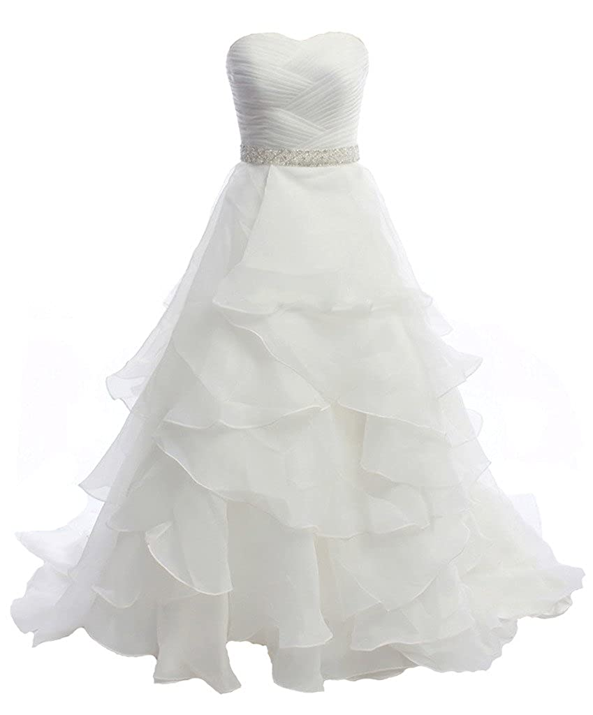 Ivory APXPF Women's Organza Strapless Wedding Dress Bridal Party Gown
