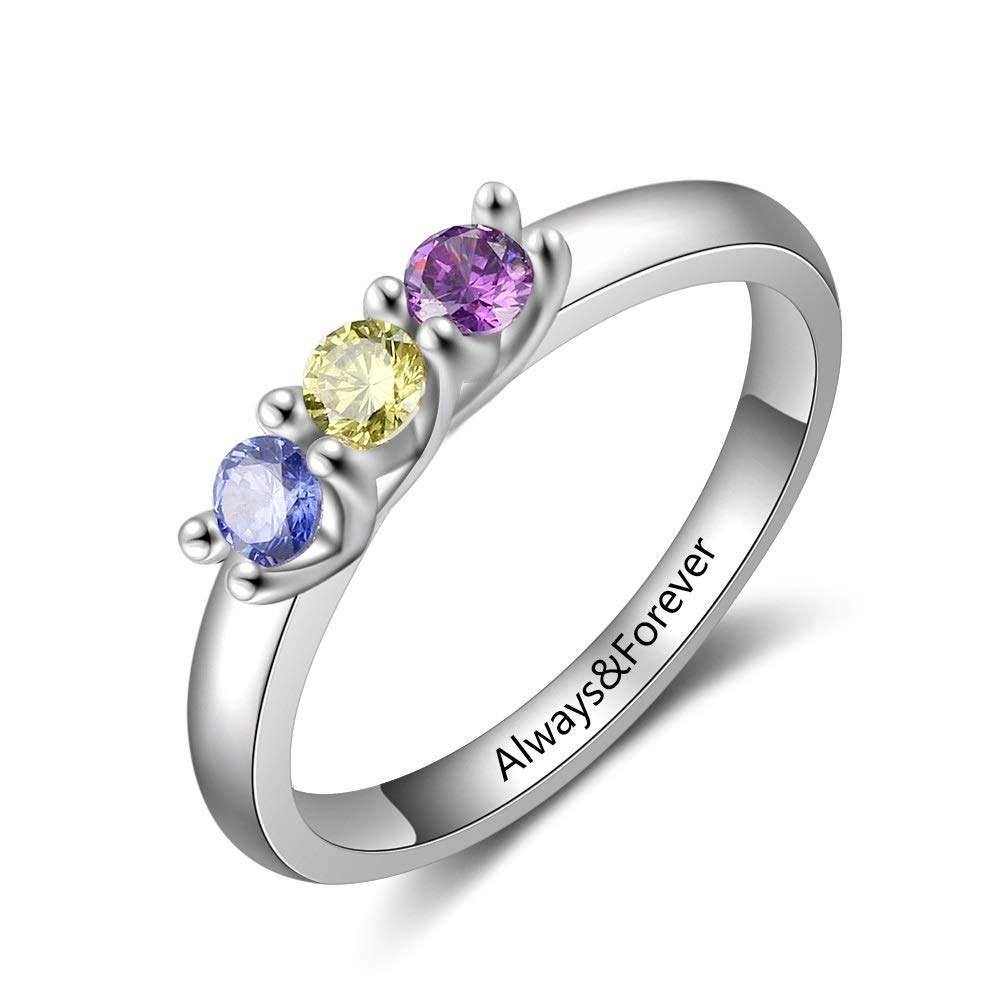 Personalized Mothers Rings with 2/3/4 Simulated Birthstones Custom Mother Daughter Ring Jewelry for Women Engagement Wedding Promise Rings for Her
