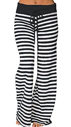 Elsofer Women's Pajamas Bottoms Comfy Striped Yoga Palazzo Sleep Pajama Lounge Pants 12