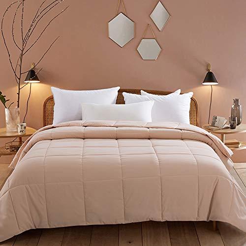 Cosybay Reversible Down Alternative Comforter Blush Pink - Corner Duvet Tabs- Double Sided & Lighweight -All Season Duvet Insert-Stand Alone Comforter - Queen Size(88×92 Inch)