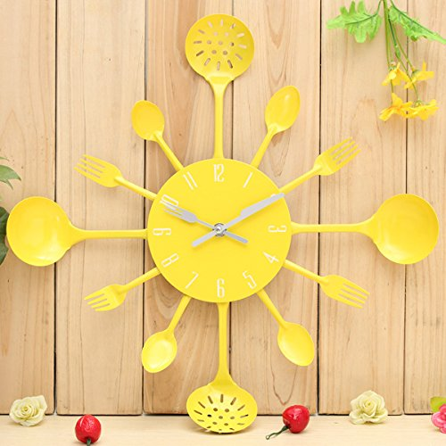 Hign Quality Metal Kitchen Cutlery Utensil Wall Clock Spoon Fork Ladel Home Decor a Great Gift Yellow