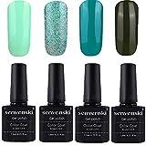 Senvenski Gel Nail Polish Soak Off UV LED Varnish Set Color Lacquers Manicure Nail Art Kits Gift 4pcs