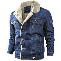 Jaqueta jeans masculina de inverno, gola de pele, quente, grossa, casual, casaco de veludo, jaqueta bomber militar para…
