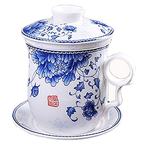 ufengkeHand Painted Flower Blue And White Porcelain Tea Cup With Lid And Saucer