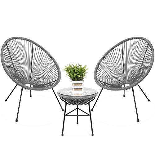 Best Choice Products 3-Piece All-Weather Patio Woven Rope Acapulco Bistro Furniture Set w/Glass Top Table - Gray