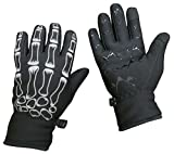 N'Ice Caps Boys Plush Lined Breathable Touchscreen Skeleton Stretch Lightweight Gloves (Black/Skeleton Design, 6-7 Years)