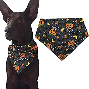KZHAREEN Halloween Dog Bandana Triangle Bibs Scarf Accessories – Pumpkin Pattern