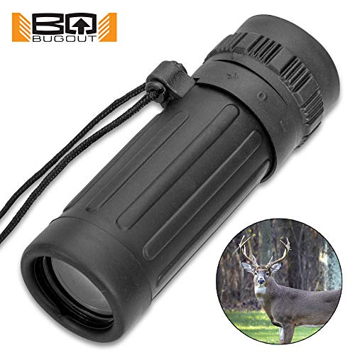 K EXCLUSIVE Bug-Out Mini Monocular - Rubberized Armor Housing, 8x21 Magnification, Integrated Lanyard, FOV: 131M/1000M