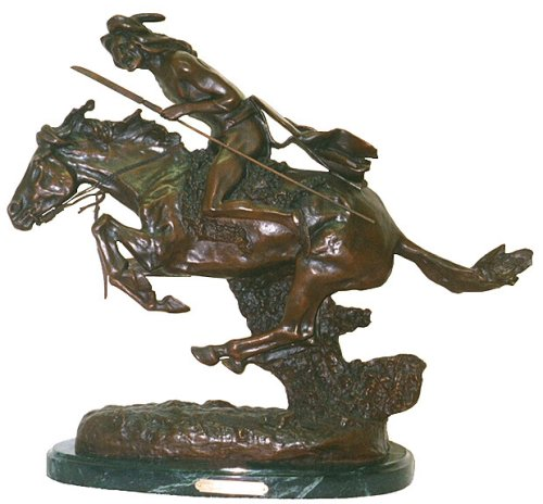 - American Handmade Bronze Sculpture Statue Cheyenne By Frederic Remington Regular Size