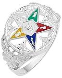 Ladies 0.925 Sterling Silver Masonic Freemason Eastern Star Ring (Size 8.5)