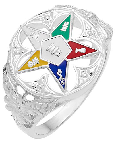 Ladies 0.925 Sterling Silver Masonic Freemason Eastern Star Ring (Size 8.5) by US Jewels And Gems