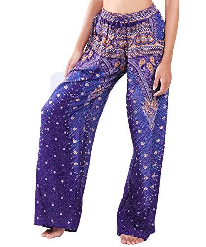 Lofbaz Women's Wide Leg Harem Pants Yoga Lounge Hippie Palazzo Pajamas Trousers Ladies Petite Summer Hippy Comfy Travel Belly Dance Slacks - Peacock 1 Purple and Gold - S (Indian Pattern)